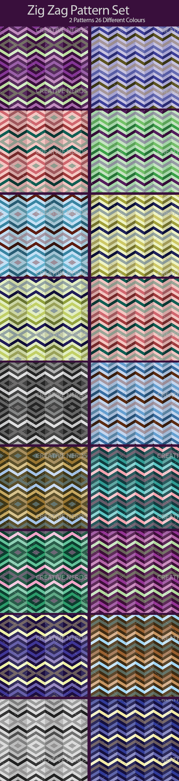zig zag pattern set preview 26 Zig Zag Seamless Vector Pattern Set