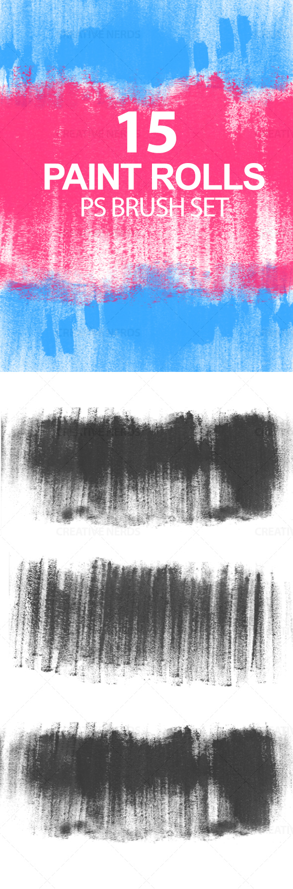 water marked brush set 15 High resolution Paint Rolls Photoshop brush set
