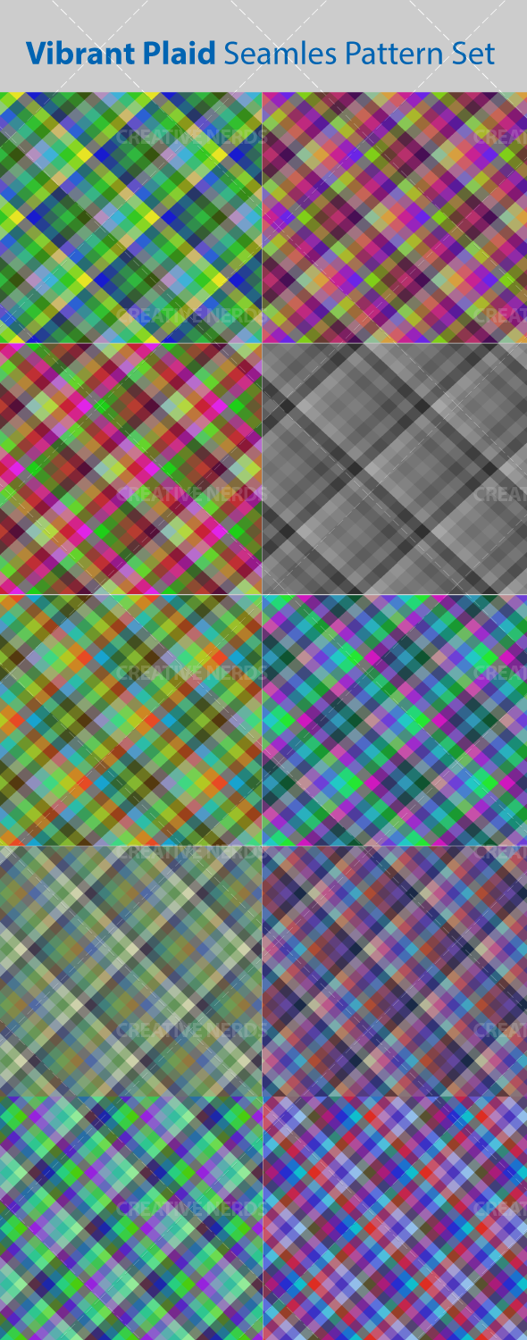 watermarked vibrant seamless pattern  Vibrant seamless plaid vector pattern set