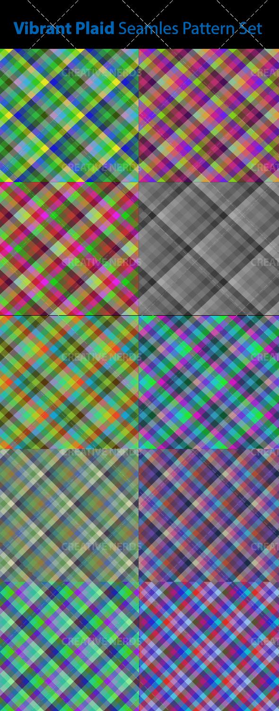 watermarked vibrant seamless pattern  Vibrant seamless plaid vector pattern set