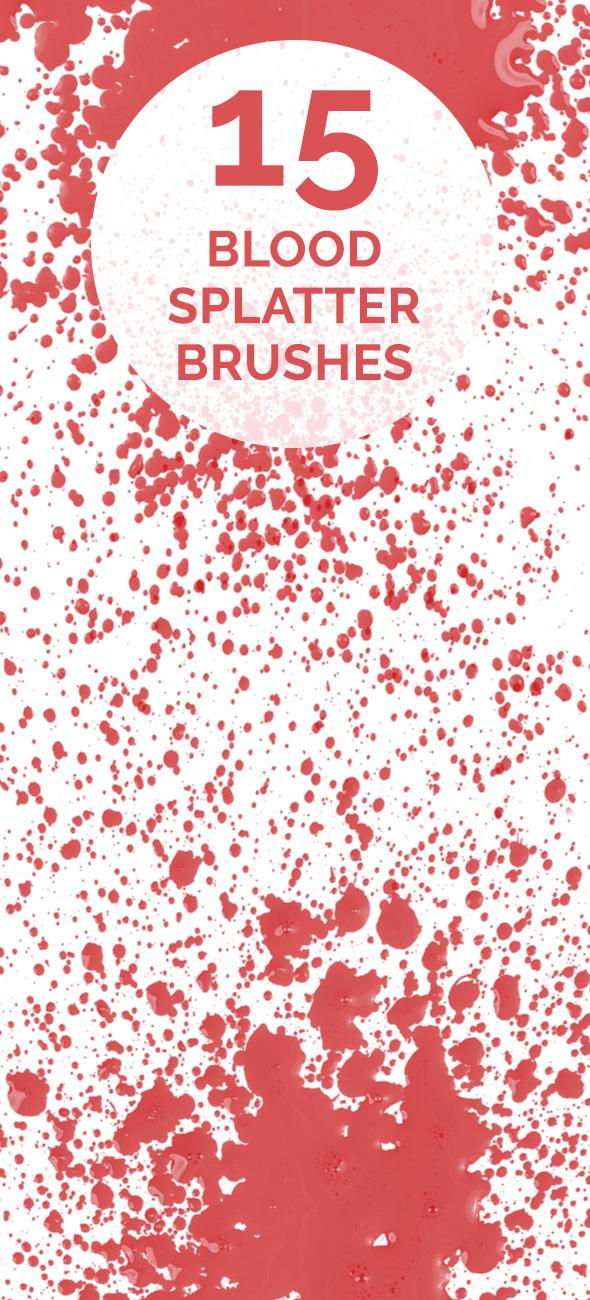 Blood spaltter brush set 15 Blood splatters Photoshop brush set