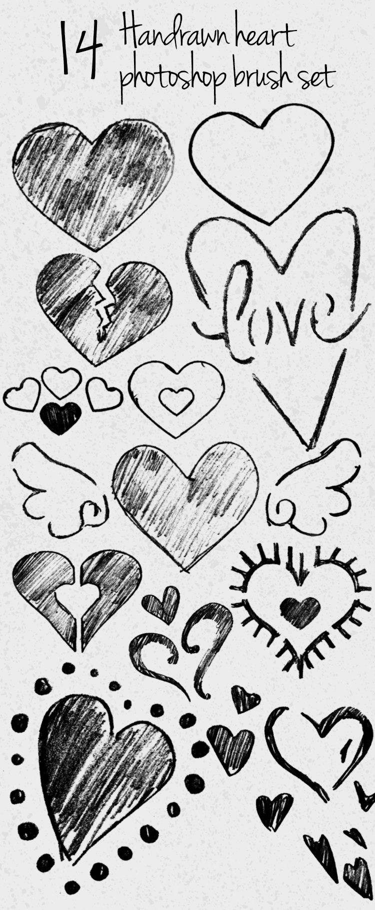 handdrawn heart photoshop brush set 14 hand drawn heart Photoshop brushes