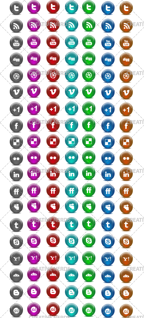 glossy icons big preview 125+ Glossy Orb Social Media Icons