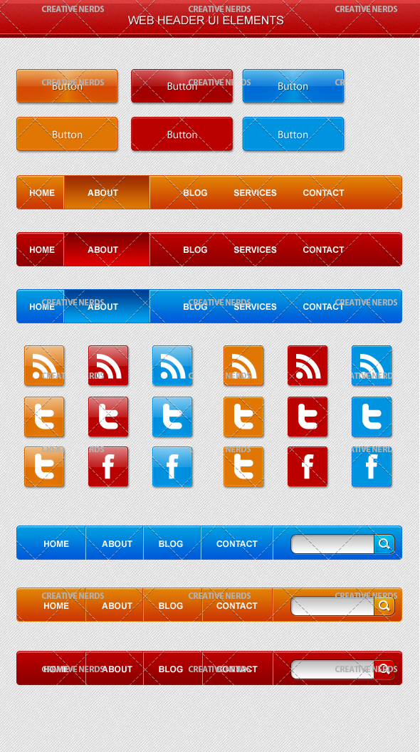 web ui elements Web UI Header PSD Elements