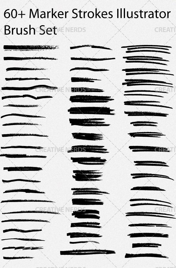 illustrator marker brush set preview 60+ Marker Strokes Illustrator Brush Set