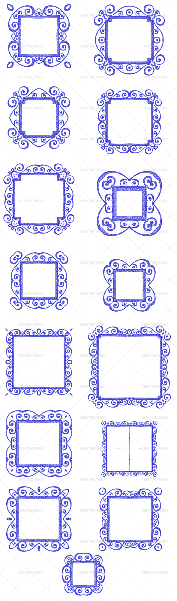 watermarked swirly frames Swirly hand sketched border frames