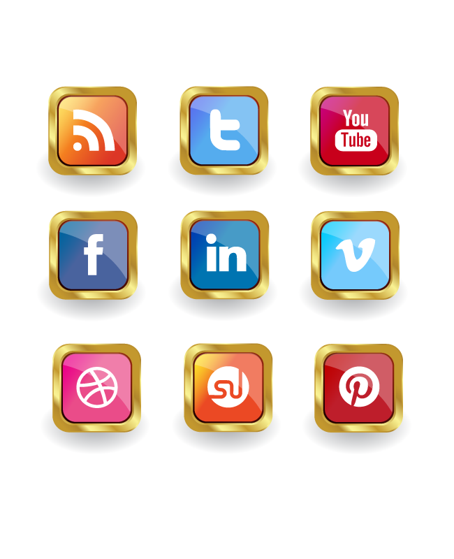 golden social media icon set Golden vector social media icon set