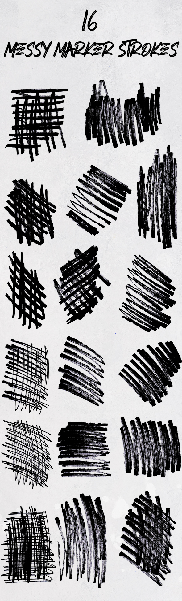 marker hashes preview 16 messy marker scribbles Photoshop brush set