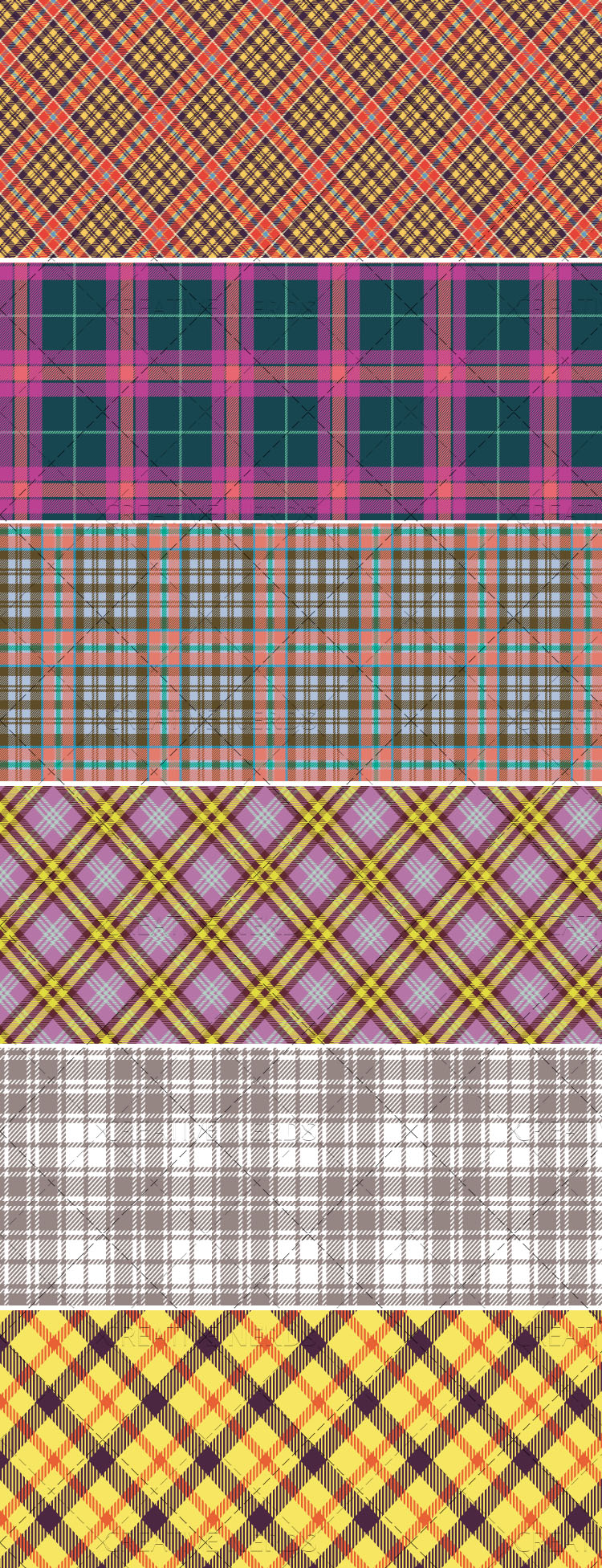 2plaid seamless vector pattern set Creative Nerds 6 Plaid seamless vector patterns