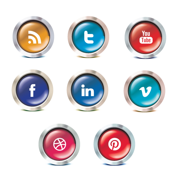 chrome social icon set Chrome social media icon set